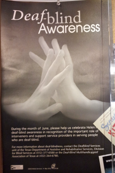 How Fitting!  A Poster at Whole Foods for Deaf-Blind Awareness Month