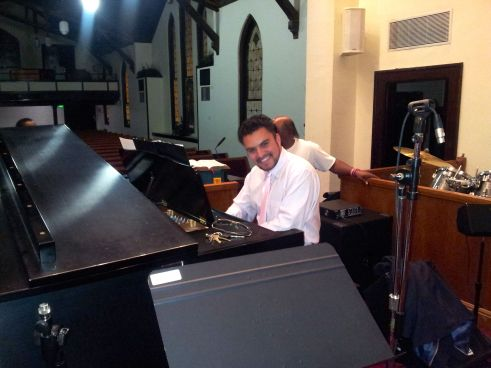 Esteban, Star of my First Sunday Story (and the Church's Piano and Organ Player)