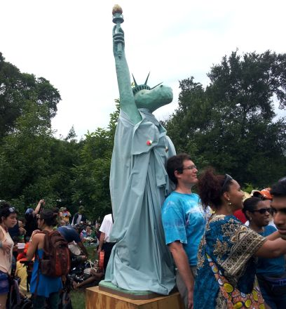 Costumes, Art and Festivities Abound - The Eeyore Statue of Liberty